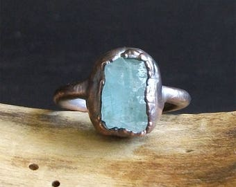 Aquamarine Raw Crystal Ring Midwest Alchemy Size 8 Natural Rough Stone Jewelry Copper March Birthstone