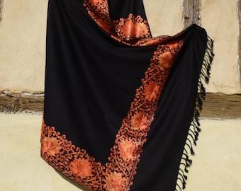 "Black Orange Border Pashmina Kashmir Embroidered shawl/stole. 80 x 40""  203 x 102 cm"