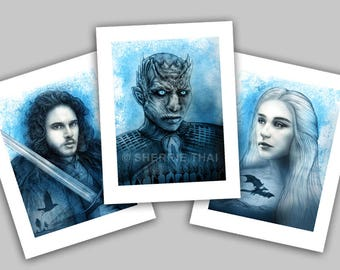 Game of Thrones Portraits, Jon Snow, Whitewalker Night King and Daenerys Targaryen Poster Designs, Art Prints, Set of 3, Sale