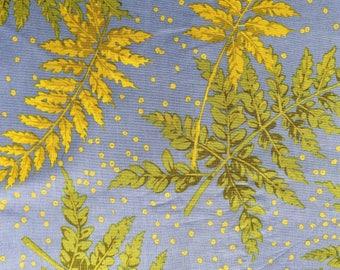 Martha Negley OOP, rare Ferns, blue, two yard remnant, nature fabric, botanical fabric