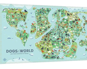 Dogs Of the World Map 36x24 canvas print