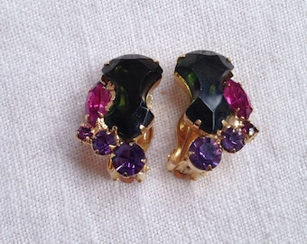 Juliana Anchor Stone Earrings Green Magenta Purple Rhinestones
