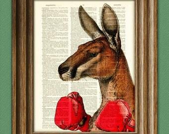 Kangaroo Boxing Art Print Australian Dictionary Page art print