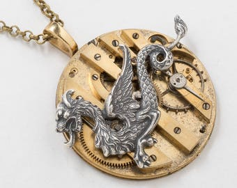 Dragon Necklace, Silver Dragon Pendant with Victorian Gold Pocket Watch Movement & Ruby Jewels, Vintage Clockwork Steampunk Jewelry Gift