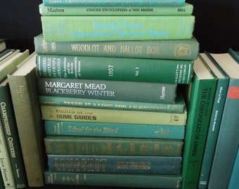 Green Custom Books by the Half Foot - Vintage Interior Design - Home Staging Books Interior Decoration - Pick Your Own 1/2 Foot