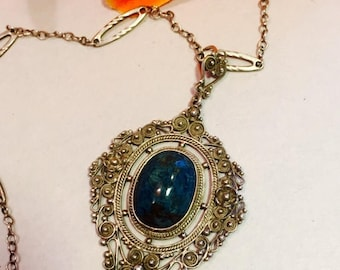 CIJ SALE Christmas JULY Beautiful Italian Peruzzi Sterling Silver Filigree Blue Solidite Stone Vintage Antique Necklace