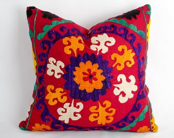 Home decorative cushion cover, red suzani pillow cover, fully handmade silk embroidery, made from vintage suzani