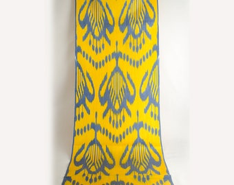 yellow ikat fabric, yellow blue ikat, ikat fabric by the yards, hand woven silk cotton ikat