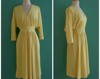 70's butter yellow draped dress with pockets ~ small medium