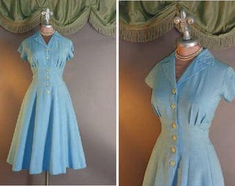50s dress 1950s vintage SKY BLUE PRINCESS Alice Blue cotton rayon blend fit and flare full skirt dress