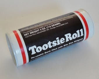 1 Vintage Tootsie Roll Reusable Bank - Retro Candy Collectible Piggy Bank, Childrens Desk Decor, Kids Room, Nursery Decor, Sweet Savings