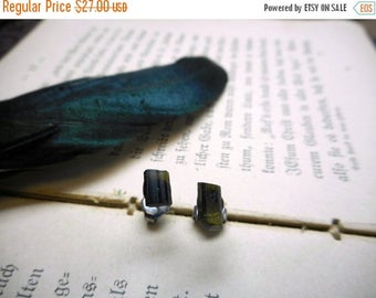SALE The Sequoia Glen Tourmaline Earrings. Rough Olive Green Tourmaline Stone and titanium post ear stud earrings. Handmade gift for her und
