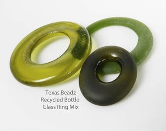 Recycled Glass Bottle Rings Olive Green Sea Glass Beads Frosted Round Glass Pendants