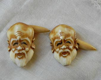 Vintage Carved Japanese Noh Mask Cufflinks. Bone or Celluloid. Cuff Links Made in Japan. Creepy Man with Moustache and Beard.