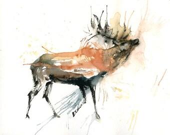 Elk Painting, Original Watercolor painting 10x8inch