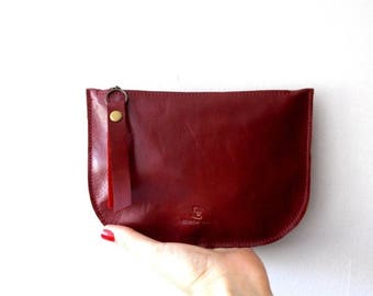 OnSALE Red leather zipper purse, Makeup Bag , leather wallet ,leather purse