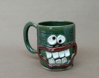 Green UgChug Face Mug. Over 16 Ounce Coffee Cup in Speckled Green. Microwave and DIshwasher Safe Stoneware. Great Father's Day Gift.