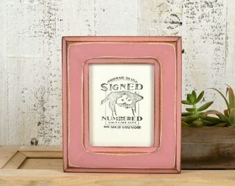 4x5 inch Photo Picture Frame in Wide Double Cove Style with Super Vintage Rose Pink Finish - IN STOCK - Same Day Shipping - 4 x 5 Frame