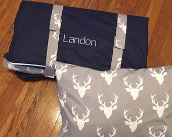 Ships Fast- Nap Mat Cover- Personalized Deer Head Nap Mat Cover with Attached Blanket and Pillowcase