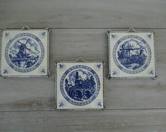 3 Dutch Delft Blue Ceramic Tile Trinkets or Wall Hangings