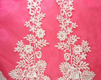 """Lace Appliques White Floral Vine Embroidered Mirror Pair Costume Motifs Craft Sewing Supplies DIY 15"""" (DH85X-wh)"""
