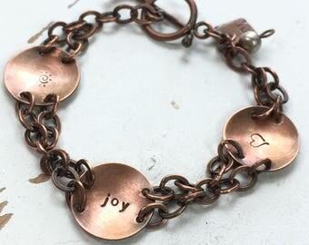 Finding Joy Within - Hammered Copper Discs Bracelet