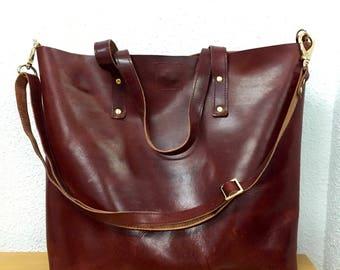Large leather tote bag leather handbag leather travel bag leather tote burgundy leather tote leather crossbody bag leather messenger bag