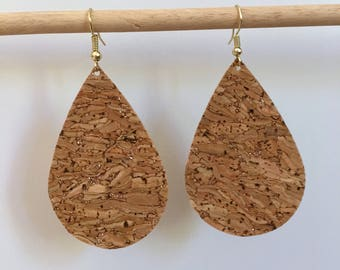 CORK teardrop earrings teardrop leather earrings teardrop leather earrings lightweight earrings natural earrings tear drop natural earrings