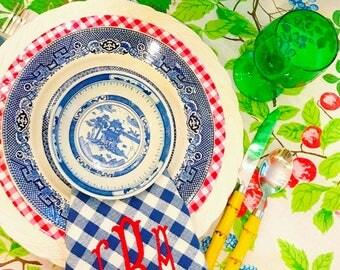 Blue check monogram napkins
