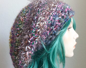 Dreadlock Hat - extra slouchy, handspun wool with sparkle, greys and earth tones