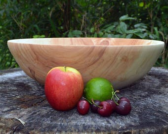 "Wood Bowl, Salad Bowl, 14+"" Large Maple Bowl, Centerpiece, Fruit Bowl hand turned with bark inclusion, cream, carmel, white, brown"