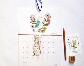 2018 Calendar - 2018 wall calendar - 2018 calendar with a planner - to do list - with a ribbon - 2018 illustrated calendar - 12 months