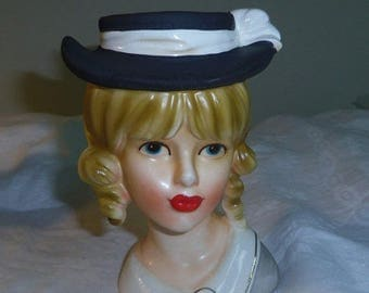 "Relpo Teen Lady Head Vase, Black Hat with Grey Dress, Rare Variation, No. K 1837  5.5"" tall"