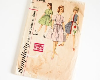 "Vintage 1960s Girls Size 7 One Piece Dress Transfer Included Simplicity Sewing Pattern 4324 Complete / b25 w22.5"" / Tulip Applique"