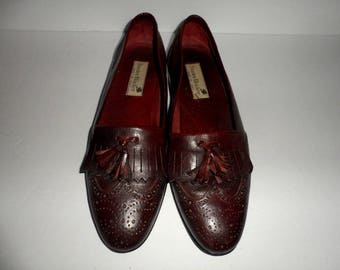 Vintage Men's size 9 Medium Stanley Blacker Wing Tip Leather Tassel Loafers Made in Italy