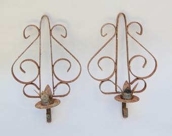 2 Vintage Rustic Metal Candle Wall Sconces . Rusty . Garden Decor . Scrolls .