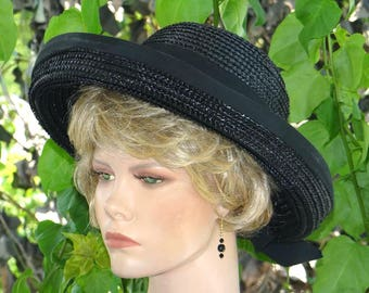 1950s Schiaparelli HAT, Breton Sailor,  Black Straw, Grosgrain Bows. Retro, Jackie O, Designer Label Fabulous Condition