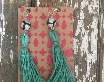 Tassel earrings, teal and black and white, summer wear, summer earrings, trendy
