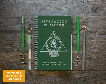 Divination Planner Notebook - Green  / Monthly / Half-Size / 24 Months / Pick Your Own Starting Month