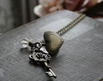 Skeleton Key Necklace, Key Locket Necklace , 21st Birthday Gift, Heart Locket, Skeleton Key Necklace, Locket Necklace - Open Your Heart