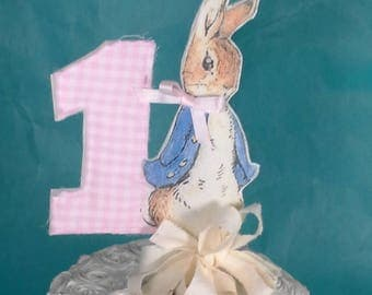 Shabby Chic Peter Rabbit cake topper, pink, fabric Peter Rabbit First birthday party decoration H154