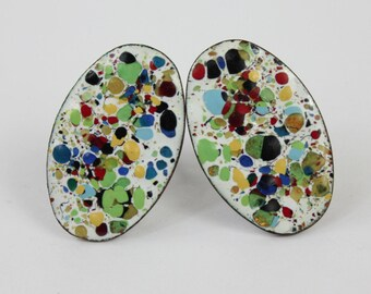 Vintage Mid Century Modern Enameled Copper Splatter Screw Post Earrings