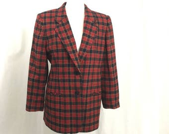 Vintage Red Plaid Tartan Wool Boyfriend Blazer 12