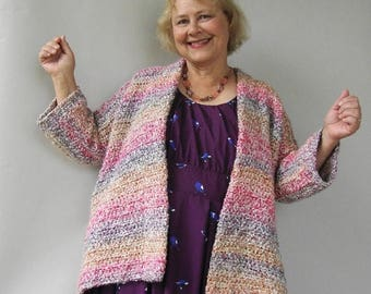 ON SALE Crochet Cardigan, Crochet Cardigan Women, Crochet Jacket Cardigan, Chunky Cardigan, Rainbow Jacket, Available in S/M, L/Xl and 1X/2X