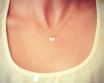 "Wholesale - Two Tiny Customized Initial 1/4"" Disc Necklace in gold - Little Dainty Disc - Personalized - Bridal Gift - thelovelyraindrop"