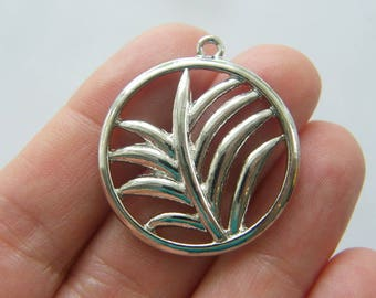 2 Palm leaf charms silver tone L219
