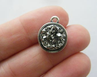 4 Dark silver resin druzy antique silver tone charms M867