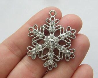 2 Rhinestone snowflake charms silver tone CT131