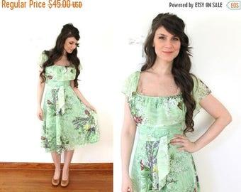 ON SALE 70s Green Floral Spring Dress / 1970s Fluttery Green Floral Sheer Boho Dress