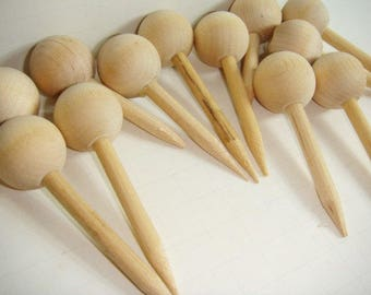 12 Wooden Doll Heads with Spike Dowel